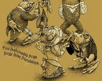 Frog Art - 11x14 Frog Poster Art - Funny Art Print - Animal Print - Oddities - Cool Men's Gifts - Creative