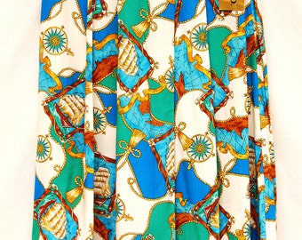 Vtg Womens Rayon Map Skirt Graphic Print Ship Pleated NWT Turquoise Blue Long Compass Travel Midi Vintage Clothing