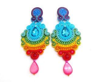 Long Clip-On Earrings, Colorful Soutache Earrings, Rainbow Earrings, Drop Earrings, Statement Earrings, Clip On Earrings