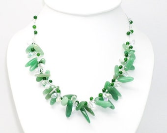 Green Jade Necklace with Crystal by Silk Thread