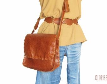 Ostrich print leather crossbody bag