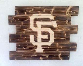 San Francisco Giants Baseball Rustic Wood Sign