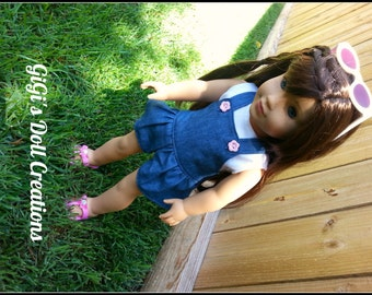 Doll Romper/Overalls with shirt fits American dolls,  18 inch dolls, Doll Clothes, AG doll clothes, Doll Shirt