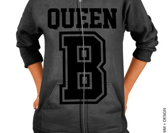 Queen B Zip Up Hoodie - Charcoal Gray with Black Zip Up Hoodie
