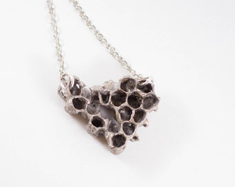 Silver beehive real honeycomb necklace