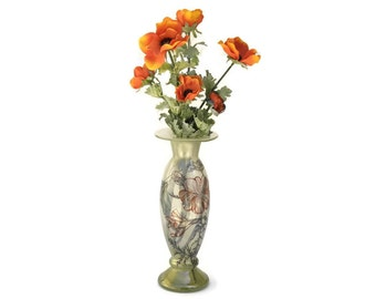 French Art Nouveau Style Vase. French Glass Poppy Vase. Hand Painted Blown Glass Vase.