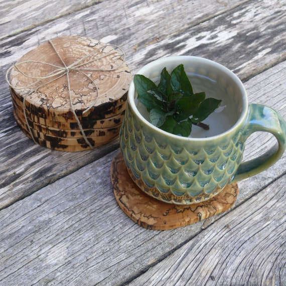 Rustic Wooden Coasters, Wooden Drink Coasters, SET OF 6, Coffee Tea Coasters, Bar & Drink ware, Housewarming gift, Natural Home Decor