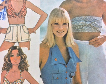 McCall's 5073 UNCUT Halter Tops & Bandeau Top Vintage Set of Tops 1970s Vintage Sewing Pattern Size 12 Bust 34""