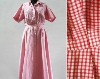 Red Micro Gingham Full-Skirt Shirt Dress