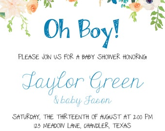 Floral Bohemian Baby Shower Invitation