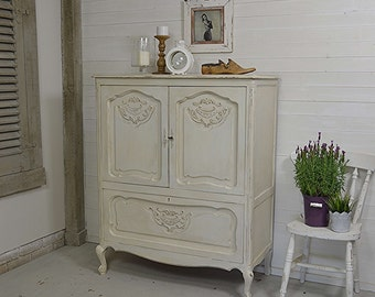 Large White Shabbby Chic French Tv Cabinet / Tv Cupboard - FREE UK DELIVERY