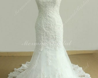 Strapless Fit and Flare Tulle Lace wedding Dress with Chapel Train and Elegant beading work