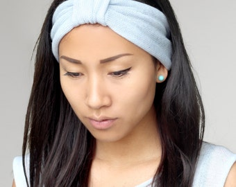 Hellblaues Stirnband, Haarschmuck, Turban, handgefertigt, sehr weich, zart zur Haut