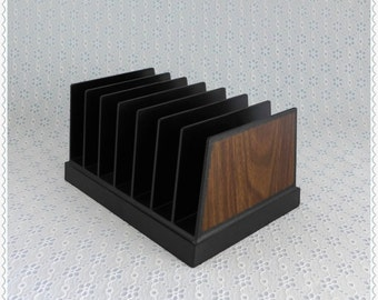 Desktop File, Mail Letter Holder, Vintage Organizer, Black Plastic, Faux Wood Trim, W T Rogers Co, Desk Paper Sorter, Retro Office Decor