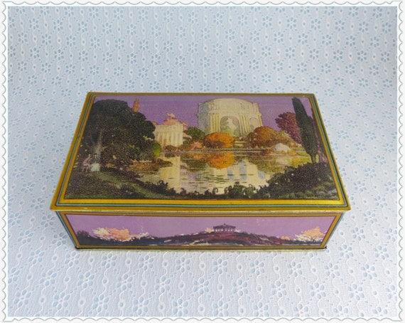 Art Deco Tin, Violet and Gold, Canco Tin, Large Candy Tin, Decorative ...