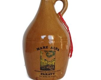 Vintage stoneware jug souvenir liquor bottle aged wine rio de janeiro