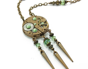 watch movement necklace, steampunk jewelry N182