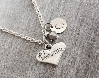 SALE, Number 1 Babysitter, Silver Necklace, Charm Necklace, Babysitter Jewelry, Babysitter Gift, Babysitter Necklace, personalized, Custom