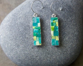 Mosaic Earrings: Green Bling