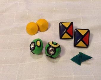 4 Piece Lot of Retro/ Wacky Earrings - 3 Pierced and 1 Clip