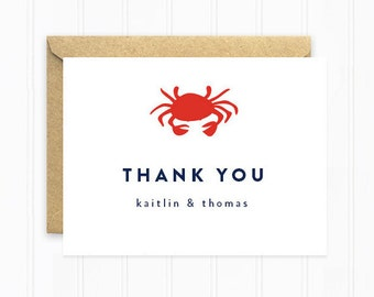 Crab Thank You Cards, Beach Wedding Stationery with Crab, Modern Navy Blue Thank You Cards