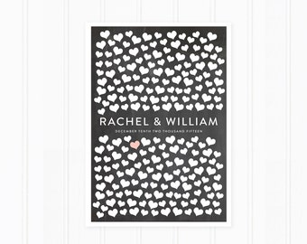 Heart Guest Book, Wedding Guest Book Alternative with Hearts, Chalkboard Sign for 200 Guests