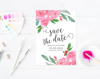 Watercolor Save The Date, Pink Watercolor Wash, Modern Save The Dates for Watercolor Wedding