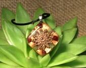 Garnet and Jade Orgonite Pendant - Handmade Healing Jewelry - Orgone Chi Prana Energy Balancing Organite - Small
