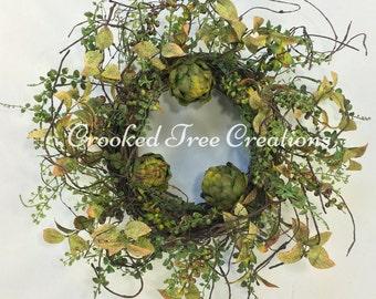 Artichoke Wreath, Spring Wreath, Artichokes, Kitchen Wreath, Fall Door Decor, Rustic Wreath, Summer Wreath, All Seasons Wreath, Green Wreath