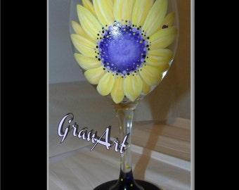 Sunflower Wine Glass 2, Hand Painted Wine Glass, Sunflower, Fall, Autumn, Summer, Sunflower Wine Glass, Flower, GranArt, Home Decor, Ladybug