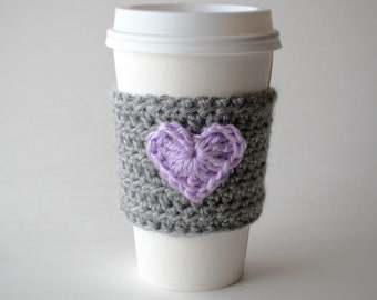 Heart Cozy, Crochet Coffee Cozy, Valentine's Cozy, Eco-Friendly, Fashion Accessory, Gift For Her