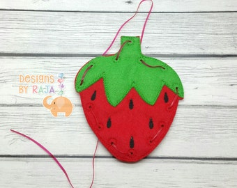 Strawberry lacing card, lacing toy, party favors, preschool learning, educational toys, game for kids, travel games, busy bags, toddler gift