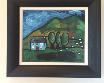 Irish Landscape Blue Cottage
