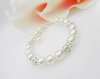 FREE US Ship Swarovski Pearl And Silver Rhinestone Rounds Bridal Bracelet, Pearl Bridesmaid Bracelet, Pearl Mother Of The Bride Bracelet