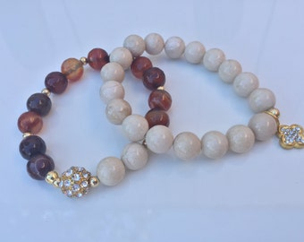 Brown and Ivory bracelets