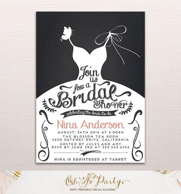 lettering dress custom bridal shower invitation card by ohsoparty. Black Bedroom Furniture Sets. Home Design Ideas