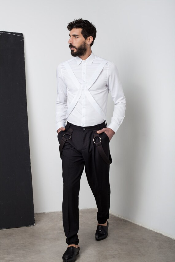 Mens white shirt Mens dress shirt Harness shirt Mens shirt