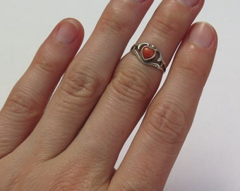 Antique Victorian red coral heart and gold plated ring / Victorian red coral / red coral ring / waif ring / Victorian era coral / 835 silver