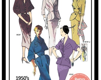 1950s Wiggle Suits Vintage French Sewing Pattern - PDF Sewing Pattern - Pin Up - Rockabilly - Instant Download