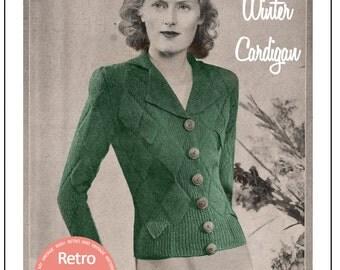 1930s Winter Cardigan Vintage Knitting Pattern - PDF Knitting Pattern - PDF Instant Download