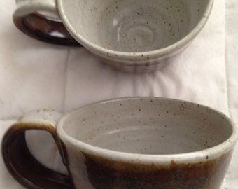 Set Of Two Brown & Gray Pottery Coffee Mugs
