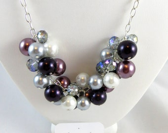 Pearl Cluster Necklace and Earring Set