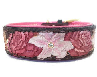 Hand Tooled Leather Dog Collar Flower Roses and Lillies