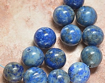 10mm Natural Lapis Gemstone Beads  10mm Lapis