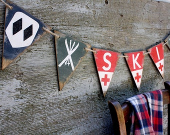 Ski Decor Banner Pennant Rustic Wood Bunting Tags Lodge Cabin Decor Signs