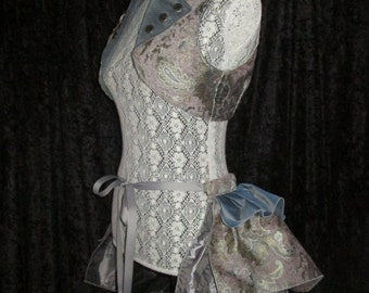 READY-TO-SHIP - Stormy Skies Long Steampunk Bustle Ruffle in Luxe Brocades