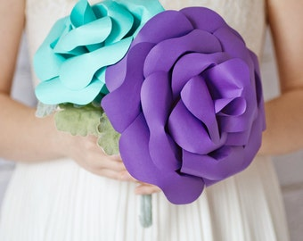 Custom Giant Paper Rose, Purple Aqua Paper Flower Bouquet, Bridesmaids Bouquet, Wedding Bouquet - 12 inch