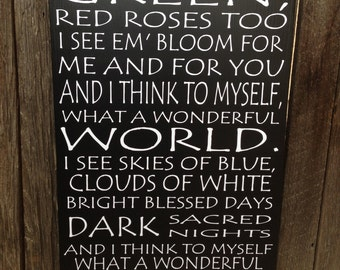 PERSONALIZED What A Wonderful World Wood Sign 1st Anniversary Wedding First Anniversary Gift Home Decor Wall Art Louis Armstrong Song Lyric