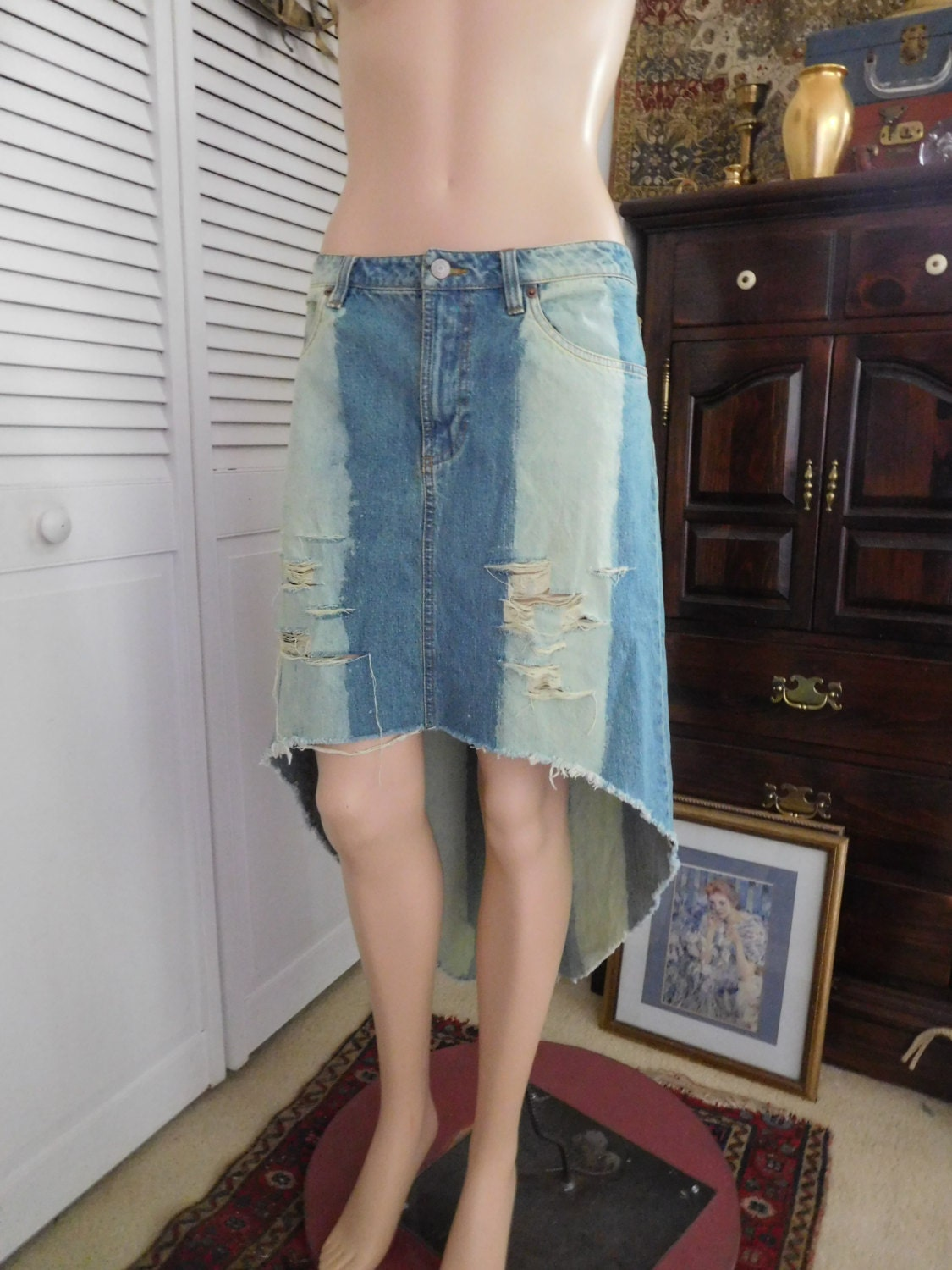 jean skirt hi low hem upcycled clothes frayed ripped