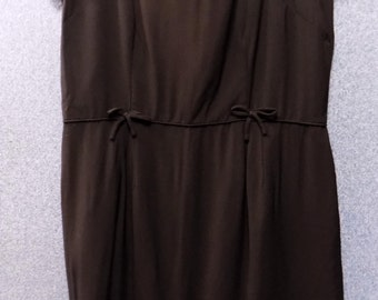 """1960's Brown Short Sleeved Dress with Black Jets, Bust 42"""""""